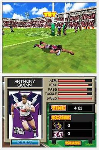NRL Mascot Mania - A screenshot of the Rugby League game included.