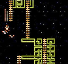 A square video game screenshot that depicts a character sprite standing on a red floating platform between two yellow structures near the top and bottom of the image.