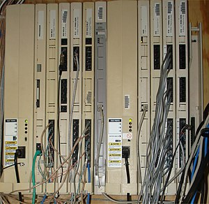 AT&T Merlin - A Merlin Legend system in an office building.  There is at least electrical pin-compatibility between the Magix and the Legend, as a Magix DS1 board (colored grey) can be seen installed in this system.