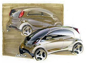 Mitsubishi i - A very early sketch of the i during preliminary design and development of the vehicle.