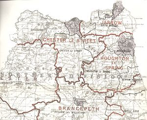 North West Durham (UK Parliament constituency) - North West Durham constituency within northern Durham, showing boundaries used from 1885–1918