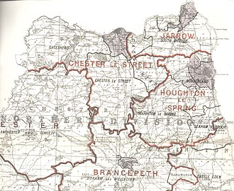 Llewellyn Atherley-Jones - North West Durham within northern Durham, showing boundaries used in 1885-1914