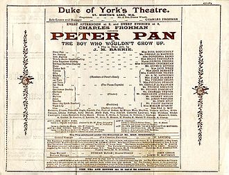 Peter and Wendy - 1904 programme for original play at Duke of York's Theatre, London