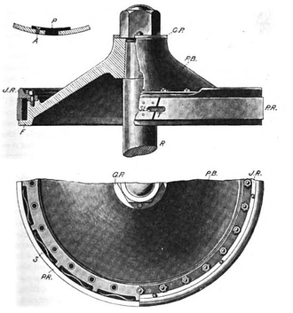 """Piston ring - Piston ring. The piston ring (PR) is a split band pressed against the wall of the cylinder by springs (S) mounted in the inner """"junk ring"""" (JR). The tongue (T) maintains the seal as the ring expands and splits apart."""
