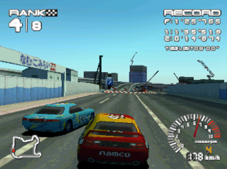 R4: Ridge Racer Type 4 - A typical race in progress, taking place at the Helter Skelter circuit.