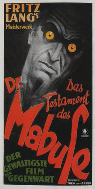 The Testament of Dr. Mabuse - 1933 German theatrical release poster