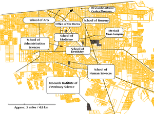 Autonomous University of Baja California, Campus Mexicali - This map shows the physical locations of all ten UABC facilities in Mexicali, including the main campus, the Office of the Rectory, and its Schools around the city.