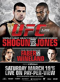 A poster or logo for UFC 128: Shogun vs Jones.