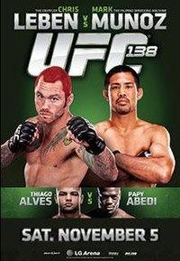 A poster or logo for UFC 138: Leben vs. Munoz.