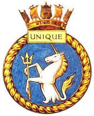 HMS Unique (N95) - Image: UNIQUE badge 1