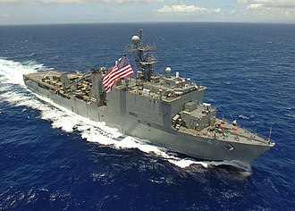 USS Rushmore (LSD-47) - USS Rushmore (LSD-47), leaving San Diego, 6 January 2003.