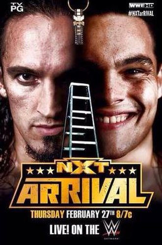 NXT Arrival - Promotional poster featuring Adrian Neville, Bo Dallas, and between them the NXT Championship