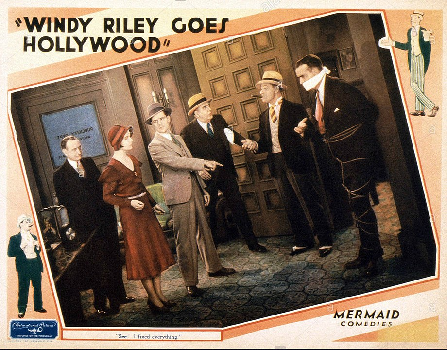 Brooks and Jack Shutta (right) on the lobby card for Windy Riley Goes Hollywood (1931)