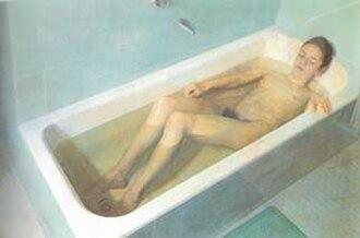 Antonio López García - Woman in the bathtub, oil on canvas, 1968 by Antonio López Garcia,
