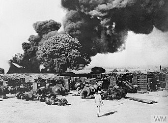 "Japanese conquest of Burma - Electrical equipment and oil installations at Yenanguang being destroyed as part of the ""scorched earth"" policy, in the face of the Japanese advance"