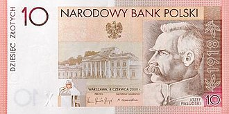 10 złotych note - The 90th anniversary of Polish independence 10 złotych commemorative banknote was issued in 2008.