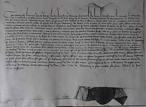 William de Botreaux, 3rd Baron Botreaux - Indenture dated 1 January 1435: grant by Richard Duke of York to William de Botreaux, 3rd Baron Botreaux of office of Forester of Exmoor and Neroche. British Library, Harleian Charter 43 E 47