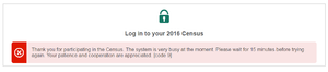 Census in Australia - ABS website message after the 2016 online census was shut down