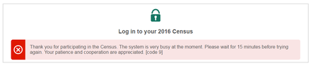 ABS website message after the 2016 online census was shut down Census in Australia 2016, ABS website error.png