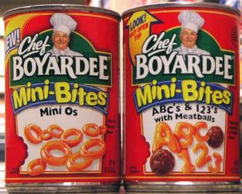 Two Chef Boyardee Mini Bites canned pasta products