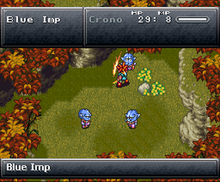 "A wooded area rendered in the Super Nintendo's graphics, two gray status bars (one at the top, one at the bottom of the screen), three ""Blue Imp"" enemies surrounding the character Crono in the middle of the area, Crono slashing at the topmost imp which has a surprised expression on its face"