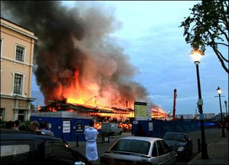 Cutty Sark on fire, in May 2007. Cutty Sark fire.jpg