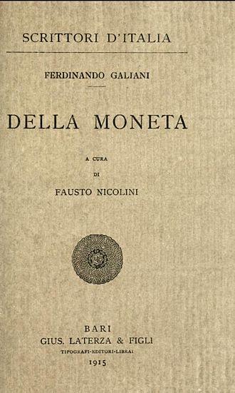 Della Moneta - Image: Della moneta ferdinando galiani