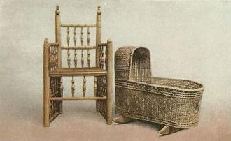 Pilgrim Hall Museum - Image: Elder Brewster Chair and Peregrine White cradle