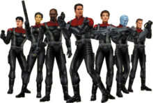 Seven characters wearing armored versions of the Star Trek: Voyager uniforms and carrying a variety of futuristic weaponry. Among their number are two women and a blue-skinned alien.