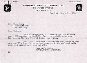 The White Sister (1923 film) - Letter from Inspiration Pictures Inc. informing Gail Kane of her 1923 earnings for ''The White Sister''.