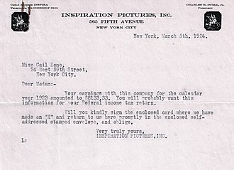 Gail Kane - Letter from Inspiration Pictures Inc. informing Gail Kane of her 1923 earnings for The White Sister'