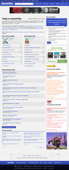 GameFAQs home page on September 6, 2014.