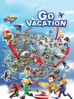 "A boy, a girl, and a dog stand on the shore of a paradise island resort. In the background, two riders on horseback, a monorail, a hang glider, and a lodging facility are shown in front of a blue mountain. The words ""Go Vacation"" appear in the middle of the picture with the outline of a small plane flying past them."