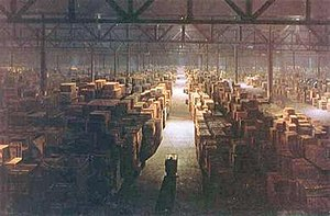 Matte painting - The government warehouse in Raiders of the Lost Ark (1981) was painted on glass by Michael Pangrazio at Industrial Light & Magic, and combined with live-action footage of a government worker, pushing his cargo up the center aisle.