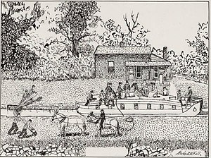 Warren County Canal - A sketch of a canalboat by Herbert Fall from circa 1840, about the time the canal operated.