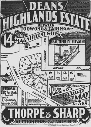 Brisbane Boys' College - A Taringa-Toowong property map from 1929. The land for the then-proposed Brisbane Boys' College is at the mid-right (bordered by Miskin/Union streets).