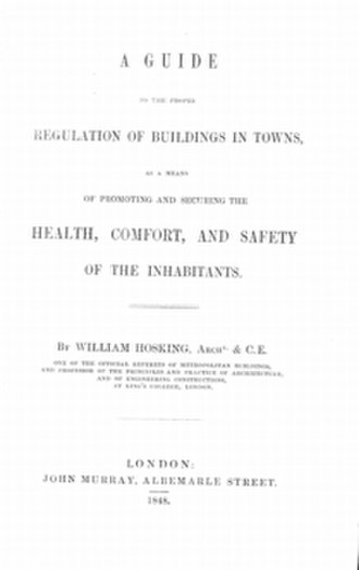 William Hosking - Title page of Hosking's 1848 book Regulation of Buildings in Towns