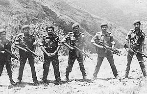 Liberation Tigers of Tamil Eelam - LTTE leaders at Sirumalai camp, Tamil Nadu, India in 1984 while they are being trained by RAW (from L to R, weapon carrying is included within brackets) – Lingam; Prabhakaran's bodyguard (Hungarian AK), Batticaloa commander Aruna (Beretta Model 38 SMG), LTTE founder-leader Prabhakaran (pistol), Trincomalee commander Pulendran (AK-47), Mannar commander Victor (M203) and Chief of Intelligence Pottu Amman (M 16).