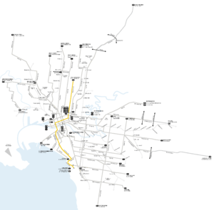 Melbourne tram route 96 - Image: Melbourne trams route 96 map