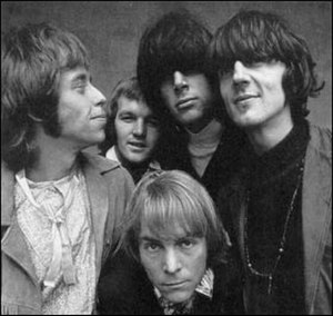 Moby Grape - Columbia Records promotional photo, 1967. (Left to Right) Skip Spence, Jerry Miller, Bob Mosley, Peter Lewis, Don Stevenson