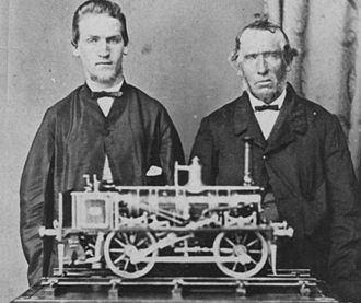 Model engineering - Model engineering, c.1866. Apprentice mechanic John Satchell poses with his father and his medal-winning model shunting locomotive exhibited at the 1866-67 Intercolonial Exhibition, Victoria, Australia. Image: Museum of Victoria ST037829