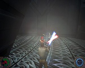 Star Wars Jedi Knight II: Jedi Outcast - Kyle Katarn fighting a saber-wielding Reborn