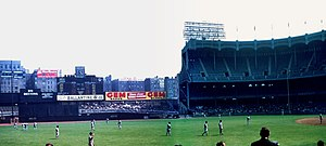 Monument Park (Yankee Stadium) - The original placement of the monuments in deep center field at the pre-renovated Yankee Stadium. Left in the picture.
