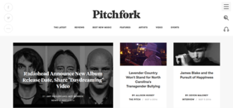 Pitchfork (website) - Image: Pitchfork.com screenshot