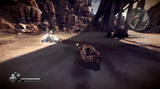 Rage (video game) - Rage gameplay. Here, a player drives their car and uses its weapons to destroy an enemy.