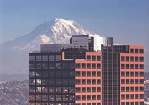 Russell Investments - Russell Investments former headquarters in downtown Tacoma, WA, with Mt. Rainier in the background.