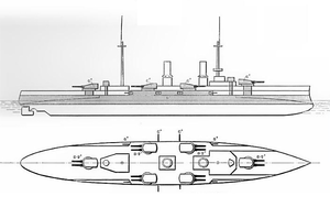 SMS Blücher - Line-drawing of Blücher, showing the disposition of the main battery and armor protection