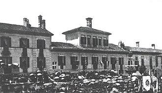 Palio di Legnano - Festivity in San Magno Square in Legnano in 1876, after 7 centuries from the battle  (05/29/1876).