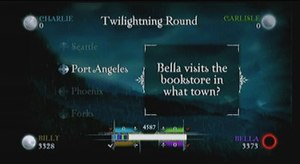 Scene It? Twilight - Most of the game's trivia is asked through text questions which are answered in a multiple choice format.