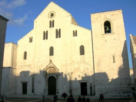 Basilica di San Nicola in Bari, Italy where most of the relics of Saint Nicholas are kept today St. Nicholas Bari.jpg